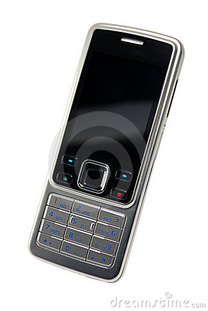 Classic silver-black cell phone isolated with path