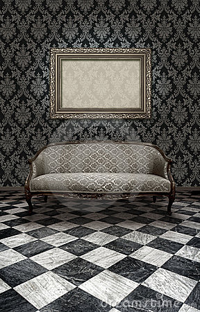 Classic sofa on marble floor