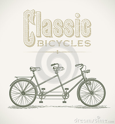 Classic tandem bicycle