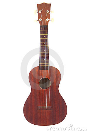 A classic ukulele isolated on white background