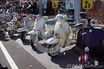 Classic Vespa and Lambretta scooters Editorial Photo