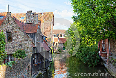 Classic view of channels of Bruges. Belgium