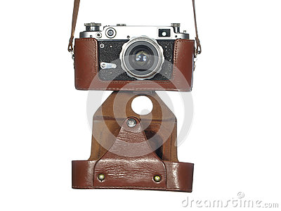 Classic vintage camera in a leather cover