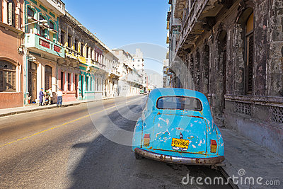 Classic vintage car in a street in Havana Editorial Photography