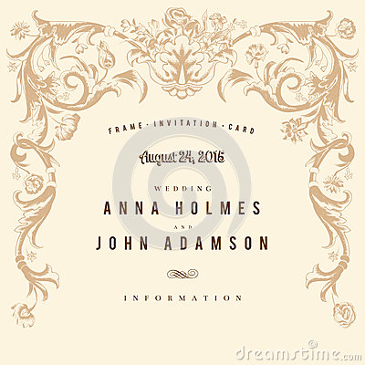Classic vintage wedding card vector baroque.