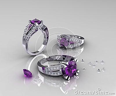 Classic White Gold Amethyst Diamond Engagement Rings Stock