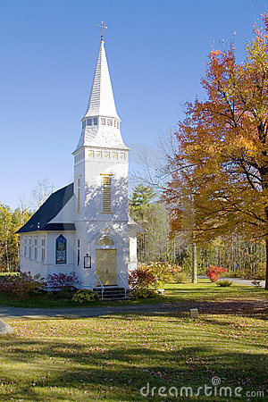 Classic White Mountains Church in Autumn