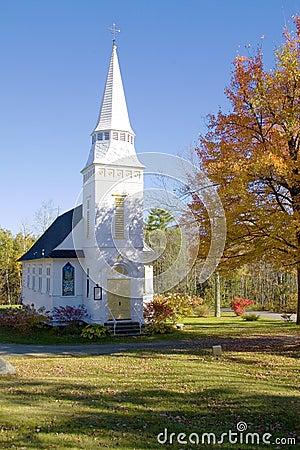 Classic White Mountains Church in Autumn