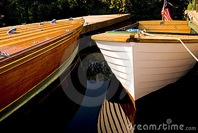 Classic Wood Boats Docked