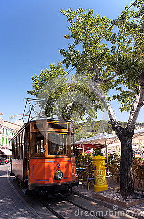 Free Classic Wood Tram Train Of Puerto De Soller In Mallorca, Spain Stock Photography - 32725432