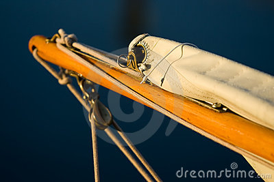 Classic wooden sailboat bowsprit