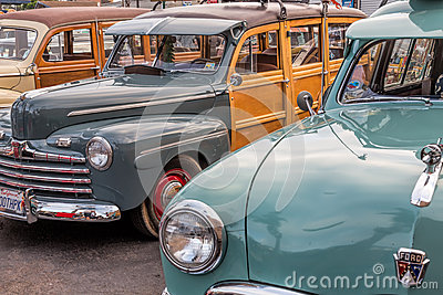 Classic woodies at car show