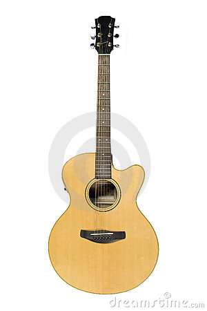Classical acoustic guitar isolated on white
