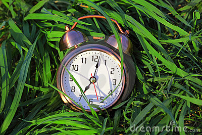 Classical alarm clock lies on grass