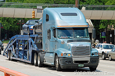 Classical american big modern truck transport car Editorial Stock Photo