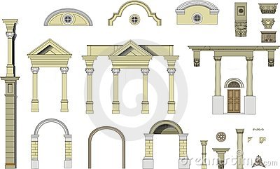 Classical arches and columns