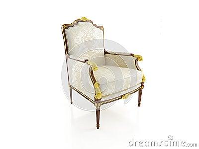 Classical armchair 3D computer rendering