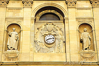 Classical building with clock