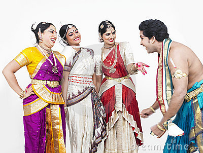 Classical dancers having fun
