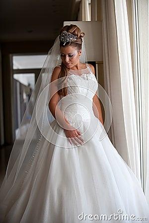 Classical long white wedding dress