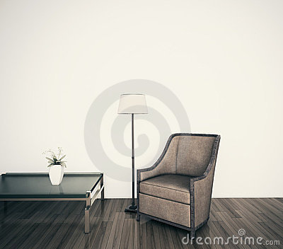 Classical modern interior armchair face blank wall