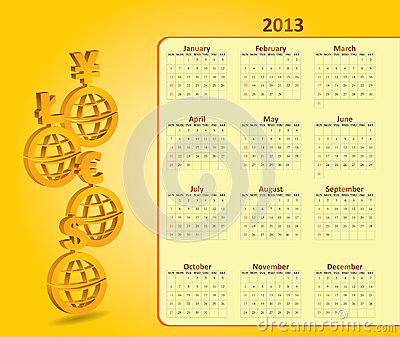 Classical monthly calendar for 2013