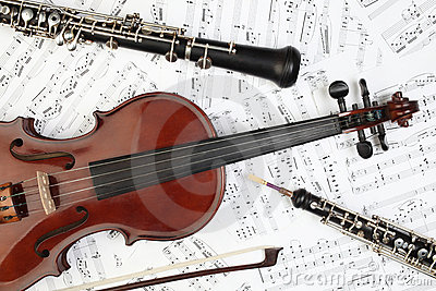 Classical musical instruments notes. Stock Photo