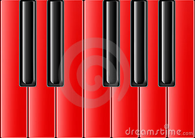 Classical piano with red keys