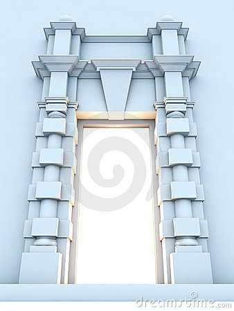 Classical portal with light inside.
