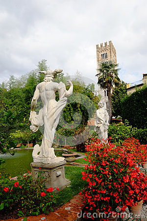 Classical statues in Pfanner palace garden, Lucca Editorial Stock Photo