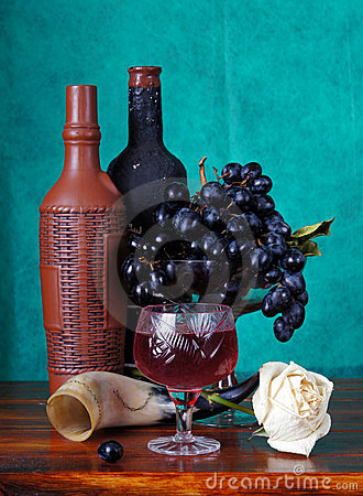 Classical still life with grapes and wine
