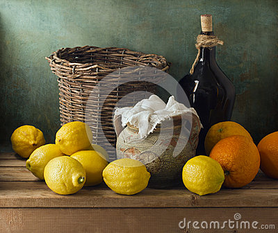 Classical still life with lemons and oranges