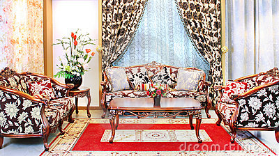 Classical stylish armchairs sitting room