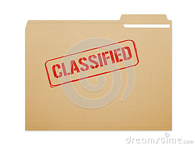 Classified brown folder file with paper showing with a lot of copy ...
