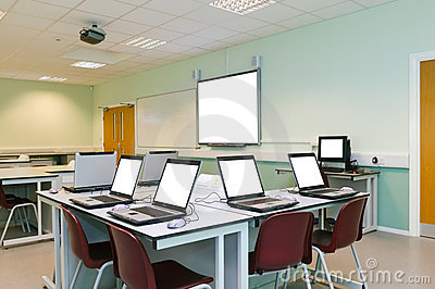 IT classroom blank computer screens