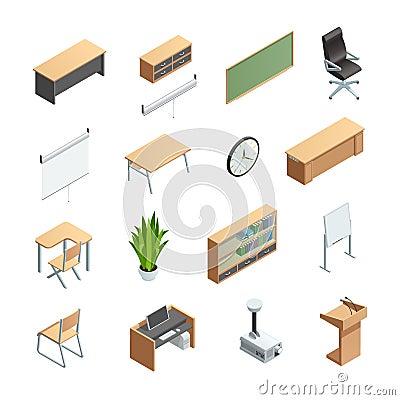 Free Classroom Interior Elements Icons Set Stock Image - 75206571