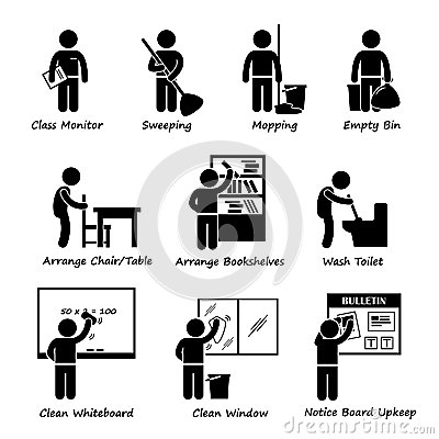 Royalty Free Stock Images Classroom Student Duty Roster Clipart Set Pictograms Representing Monitor Sweeper Mopping Floor Empty Dustbin Image39047359 on black table white chairs