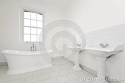 Classy family bathroom with free standing bathtub