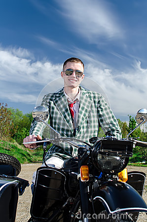 Classy guy on a motorcycle