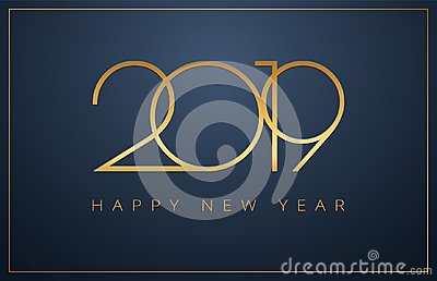 Classy 2019 Happy New Year background. Golden design for Christmas and New Year 2019 greeting cards vector Vector Illustration
