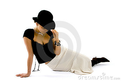 Classy Woman Lounging In Black Hat
