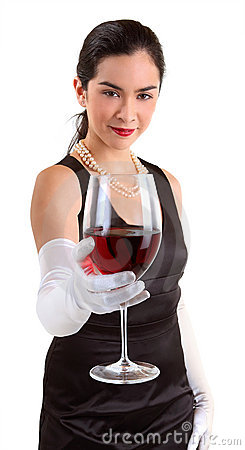 Classy Woman Serving a Glass of Red Wine