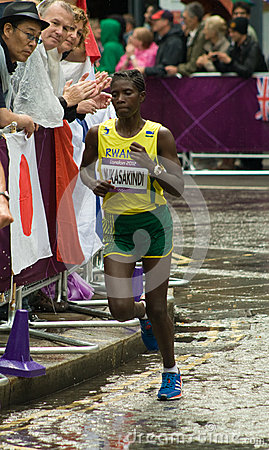 Claudette Mukasakindi running the Olympic Marathon Editorial Image