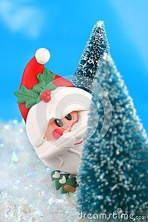 Claus пряча santa