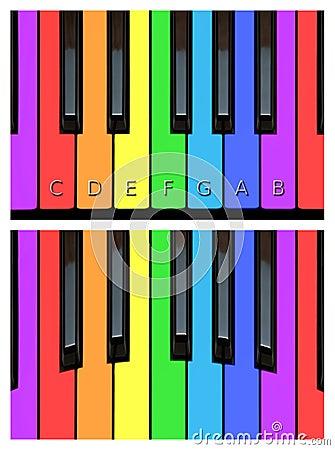 Claves alegres del piano, keyborad en colores del arco iris