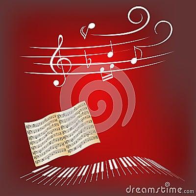 Claves del piano y notas de la música