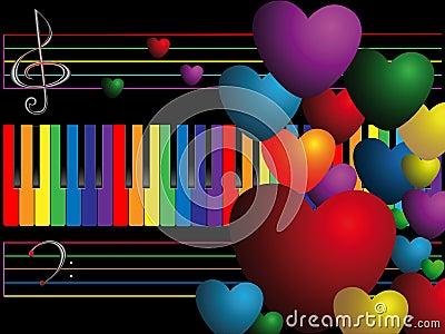 Claves y corazones de color