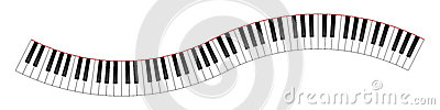 Clavier de piano incurvé