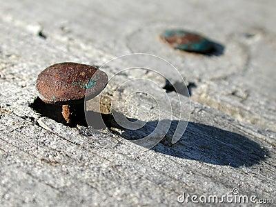 Clavos viejos oxidados en la foto de madera