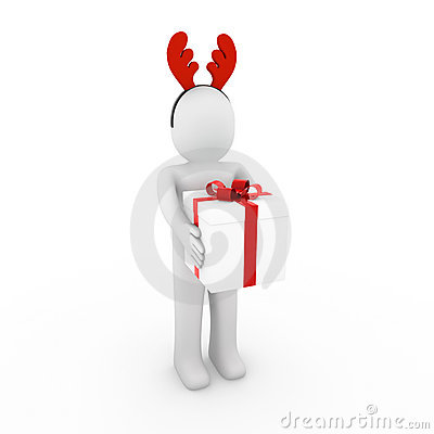 Claxones humanos del reno 3d rojos